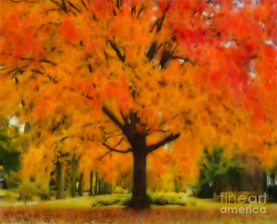 paintings of trees in autumn - photo #23