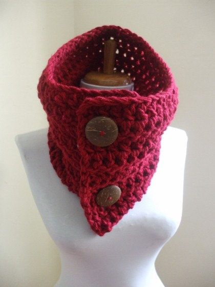 Chunky Cozy Crochet Cowl NeckWarmer Scarflette by everything2for32, $16.00