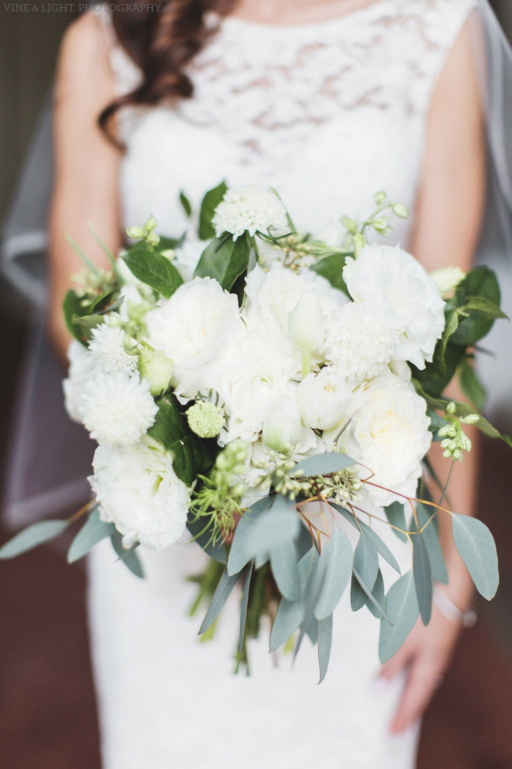 an all white and loose bridal bouquet of white patience garden rose white lisianthus - White Patience Garden Rose
