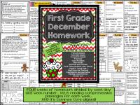 First Grade Common Core Homework - December $