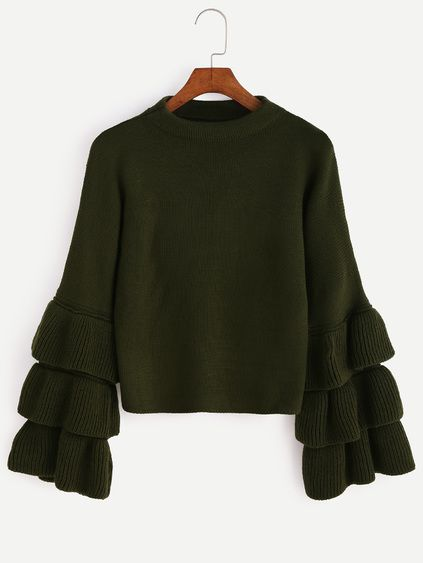 Romwe Olive Green Layered Ruffle Sleeve Sweater
