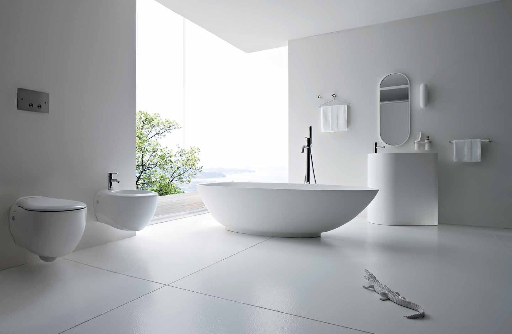 Luxurious White Marble Bathroom Decorating Ideas Beautiful Modern White Bathroom Design Ideas Acrylic Freestanding Oval Bathtub Wall Mounted Toilet Bidet Unit Curve Edge Triangular Shape Pedestal Sink Shaped Framed Mirror