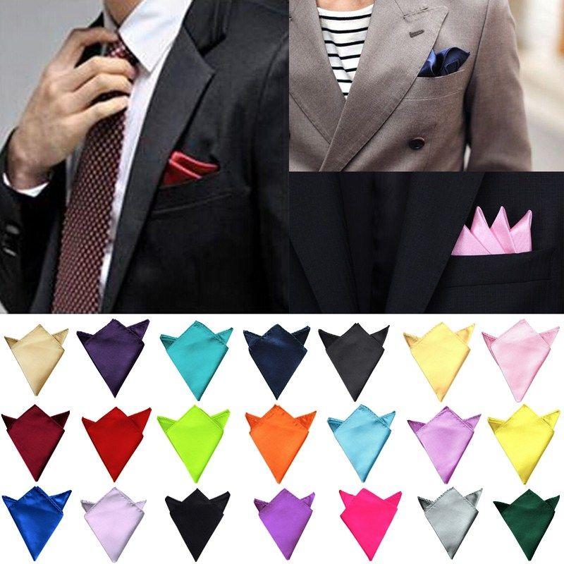 Mens Satin Solid Plain Color Wedding Party Hanky Pocket Square Handkerchief NEW