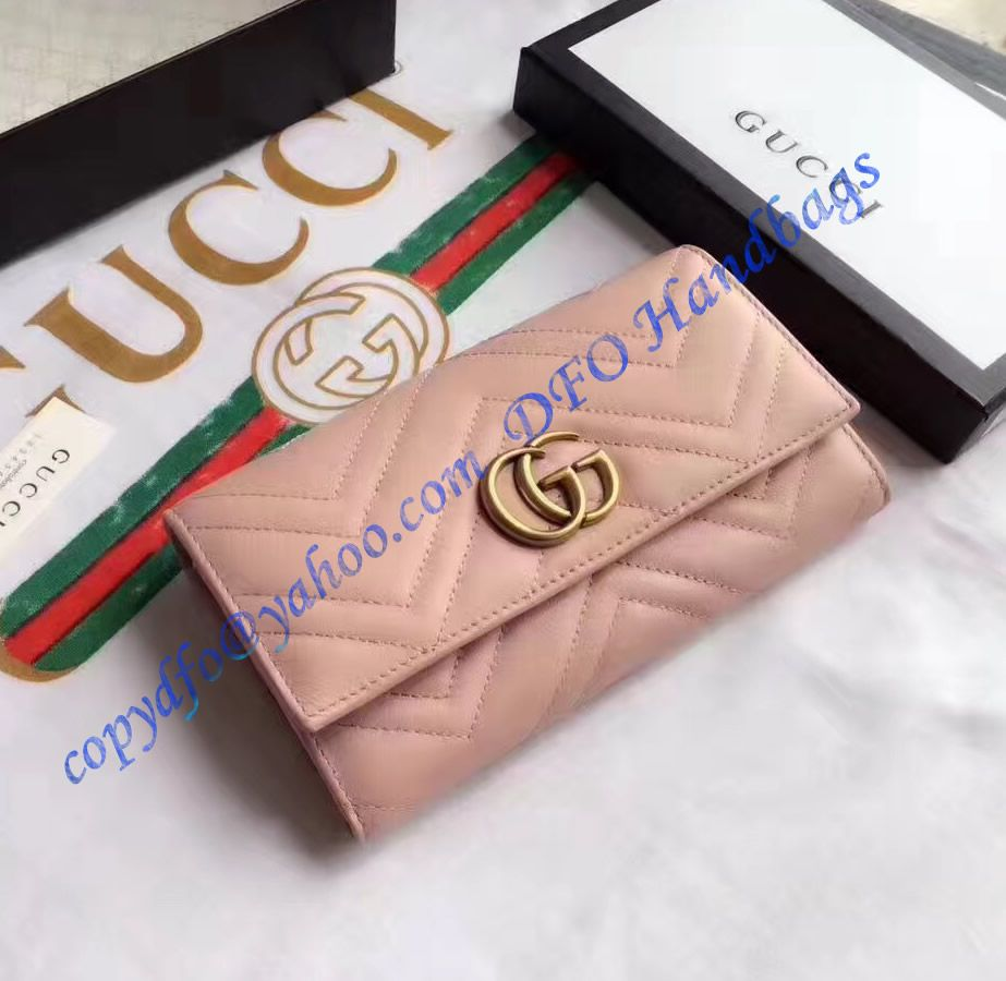 66b474a9d45 Gucci Sylvie leather continental wallet Pink in 2019