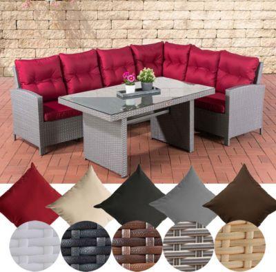 Poly-Rattan Garten Sitzgruppe MINARI mit Tisch, Eckbank mit Sitz - gartenmobel polyrattan eckbank