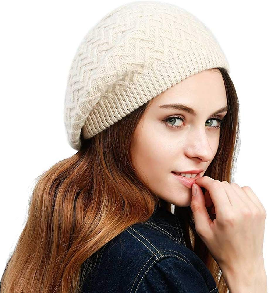 JULY SHEEP Womens Lady Knitted Beret hat Merino wool Braided hat French Beret for Winter Autumn Solid color
