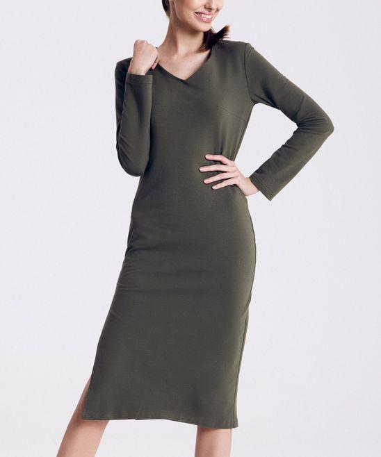 Green Side Slit Sheath Dress