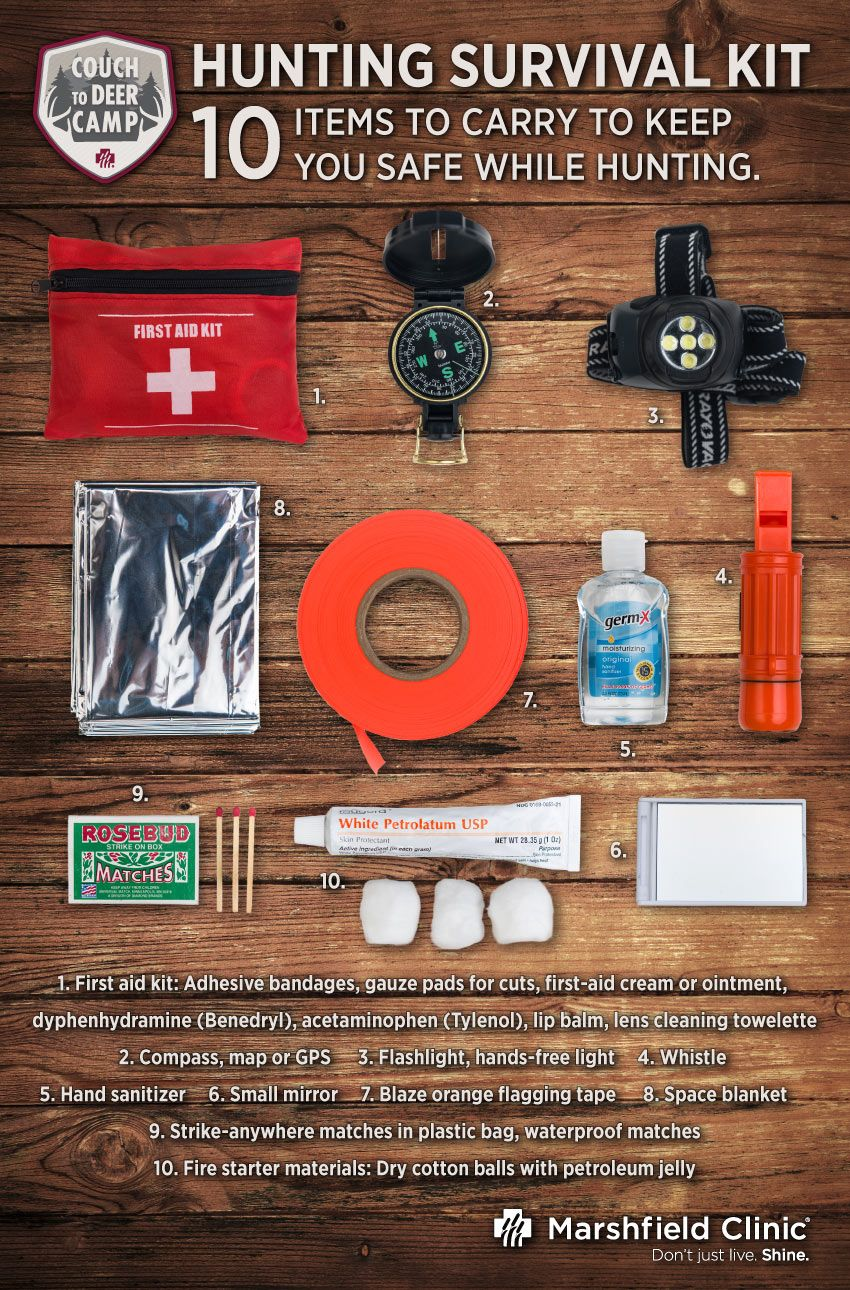10 items for a hunting survival kit Healthy man, Hunting