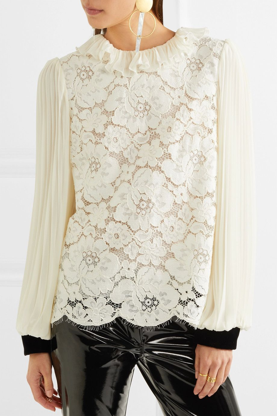 Philosophy di Lorenzo Serafini | Cotton-blend corded lace and plissé-chiffon blouse | NET-A-PORTER.COM
