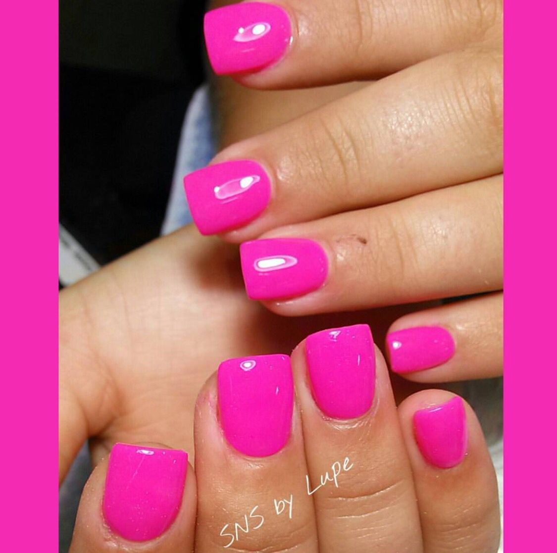 Hot Pink Sns Nails With Images Sns Nails Colors Nail