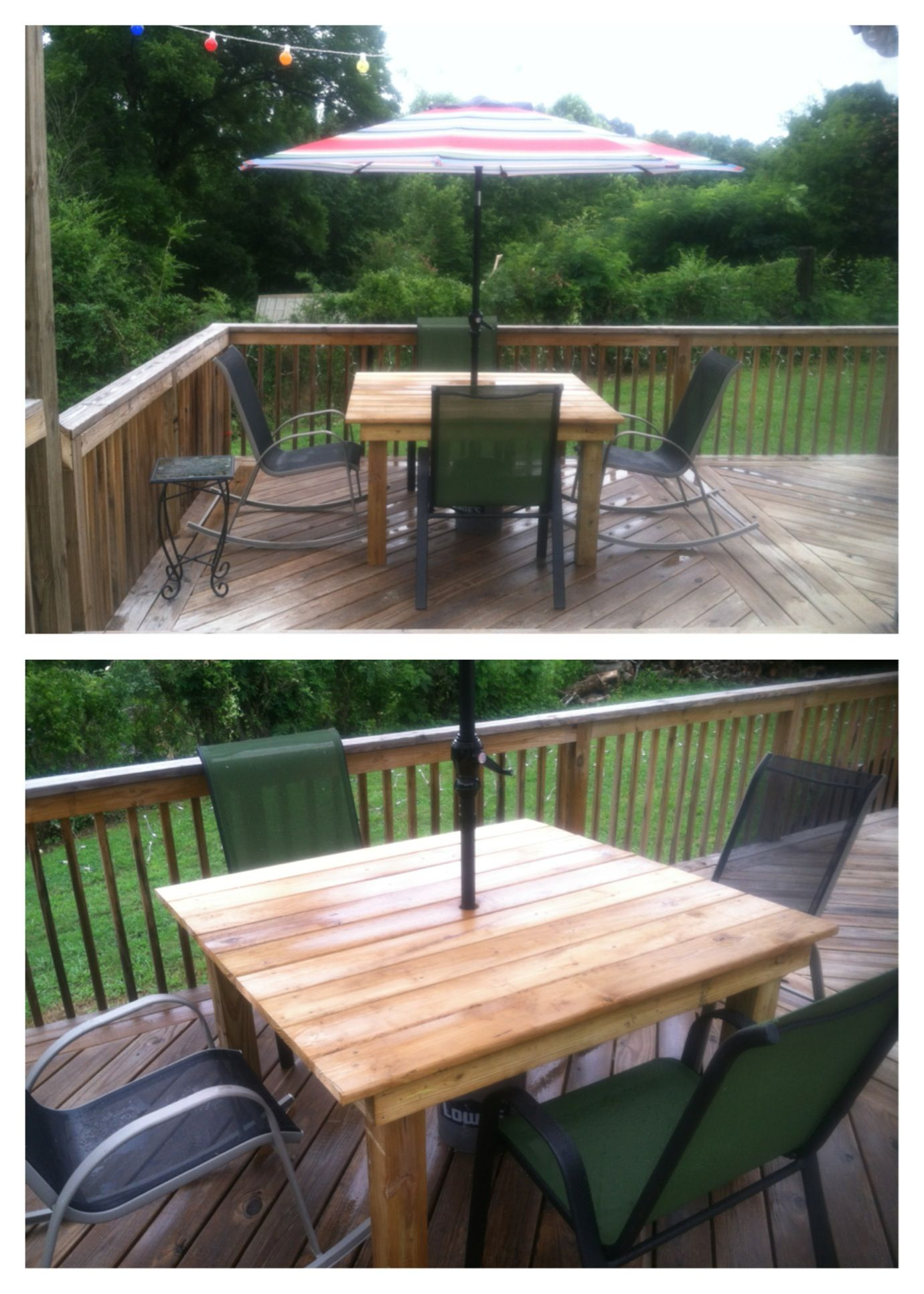 Patio table made from scrap lumber. Umbrella bought at