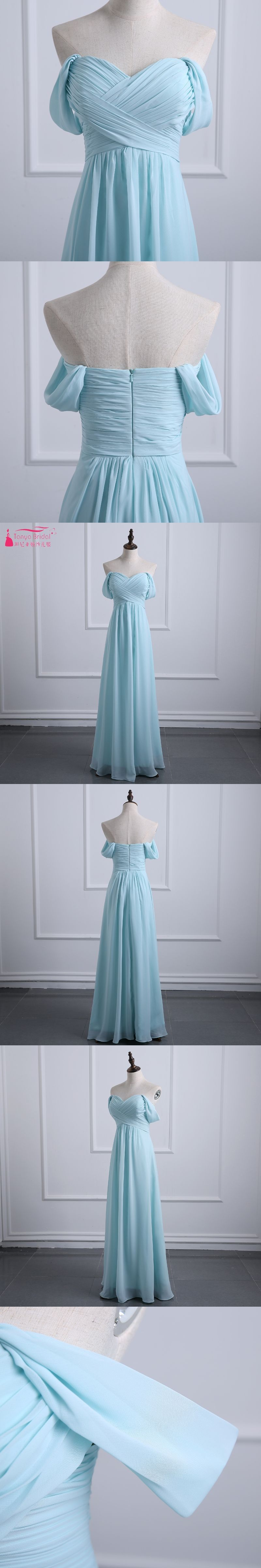 Light sky blue bridesmaid dresses a line chiffon off the