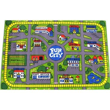 Attractive FUN CITY CAR KIDS PLAY MAT RUG WITH TRAIN TRACK