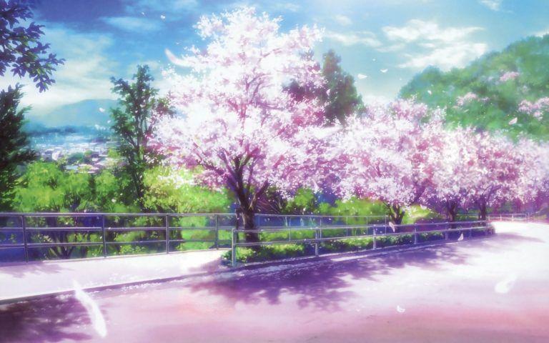 Anime Cherry Blossom Desktop Wallpaper Di 2020 Pemandangan Anime Latar Belakang Pemandangan