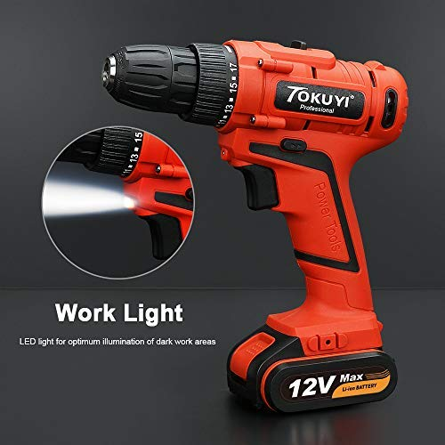 Cordless Drill With Battery And Charger Electric Power Drill Lithium 12v With Driver Set And Project Kit 3 8 Keyless Chuck S Cordless Drill Power Drill Drill