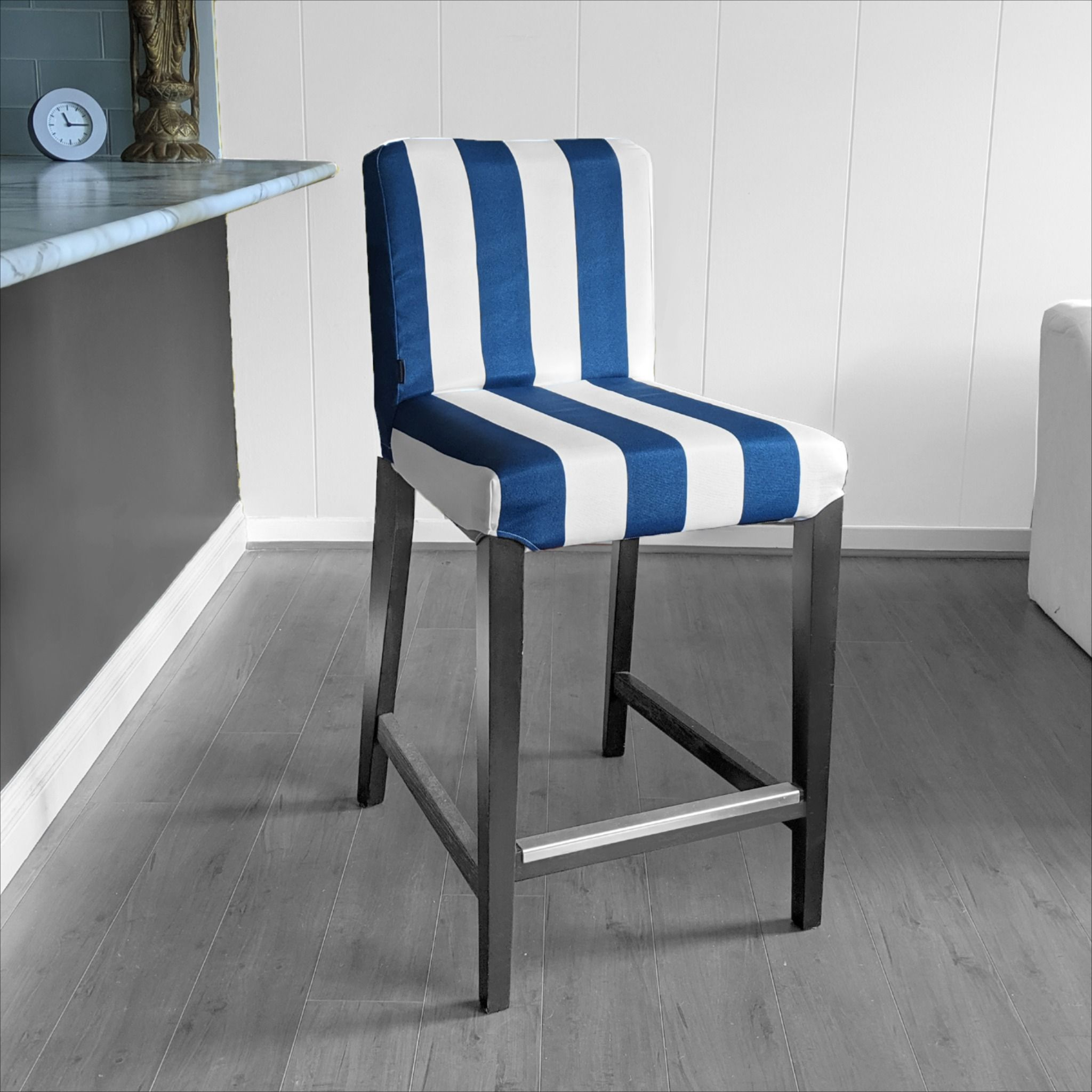 Fanback Chair With Navy Stripe: IKEA HENRIKSDAL Bar Stool Chair Cover, Navy Blue Cabana