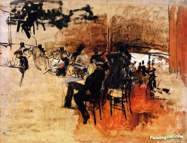 """Café Scene (Study for """"The Red Cafe"""") Artwork by Giovanni Boldini Hand-painted and Art Prints on canvas for sale,you can custom the size and frame"""