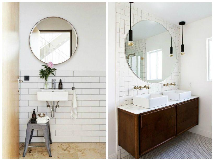 rundt spejl til badeværelse