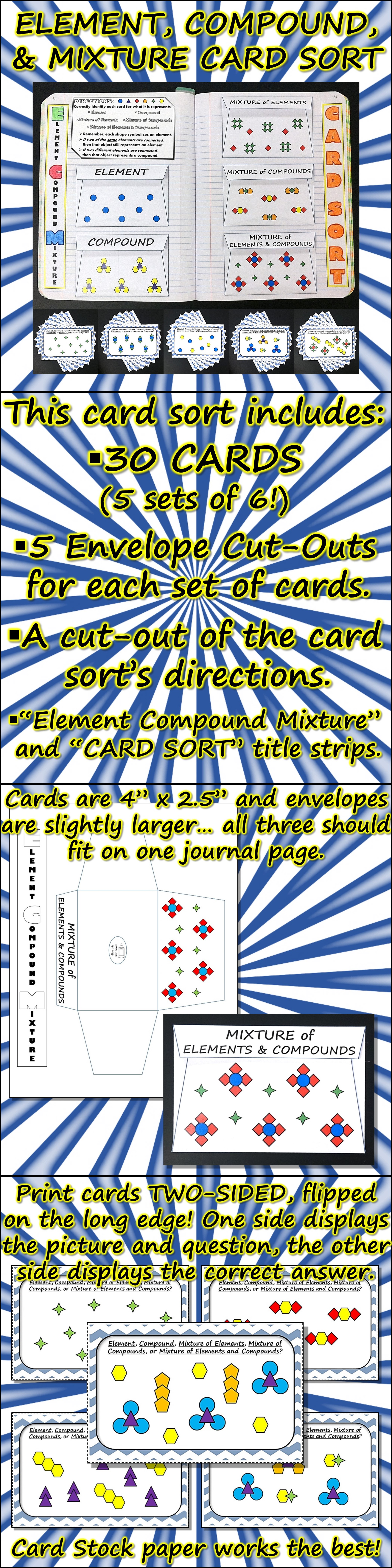 Science Journal Element Compound And Mixture Card Sort