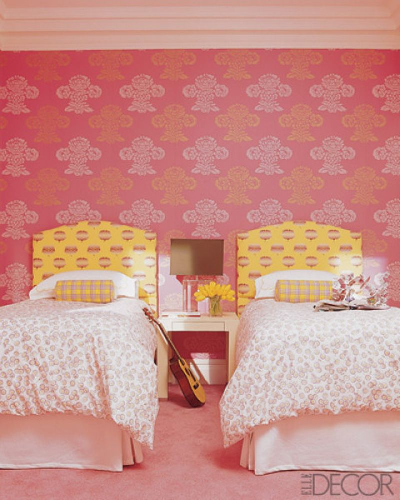 gorgeous inspiration girl room decor. Beautiful Bedroom Design Inspiration With Floral Wallpaper  Captivating Elle Decor with Yellow White