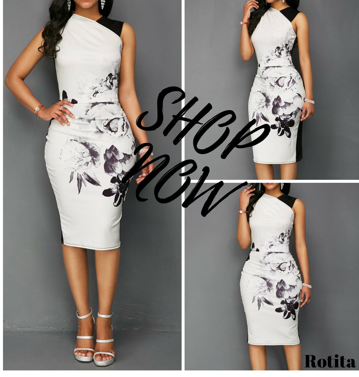 21c46b3b6d4 Flower Print Sleeveless High Waist Dress