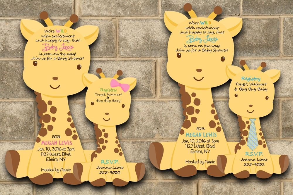 baby shower invitation for twins%0A Baby Shower Invitation Boy or Girl CUSTOM Giraffe Jungle Safari Invitations