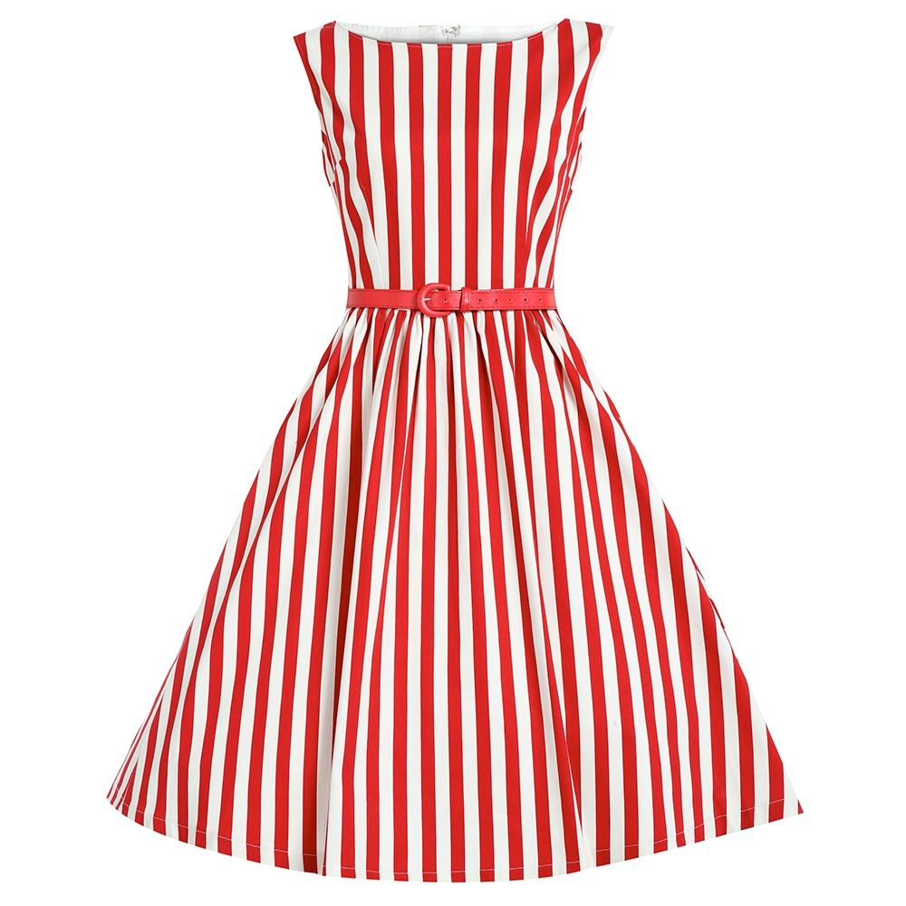 Women striped vintage style s s rockabilly party prom gown pinup