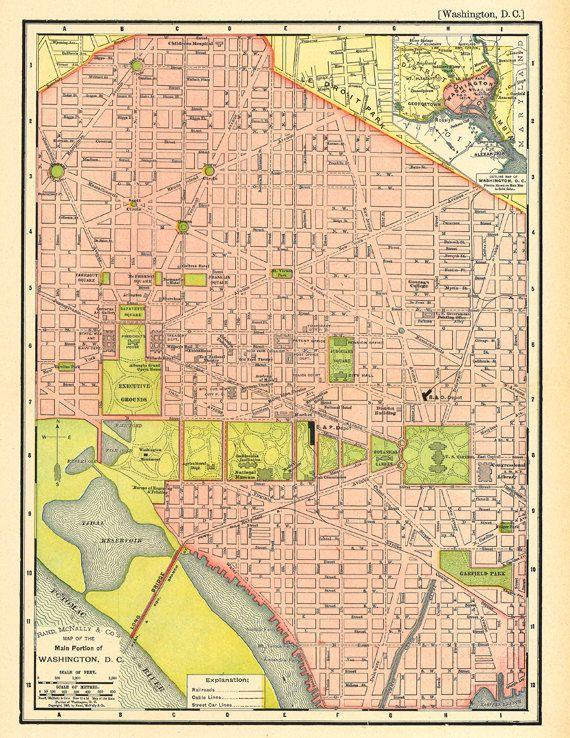 Washington Dc Map Download.Map Of Washington D C An Antique Printable Map Digital Download
