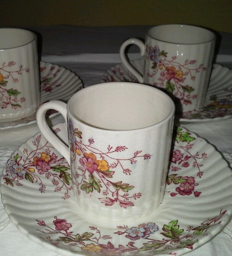 Booths Silicon China Made In England Washington Demitasse 5 Cups 6 Saucers Booths China Dinnerware China Tableware