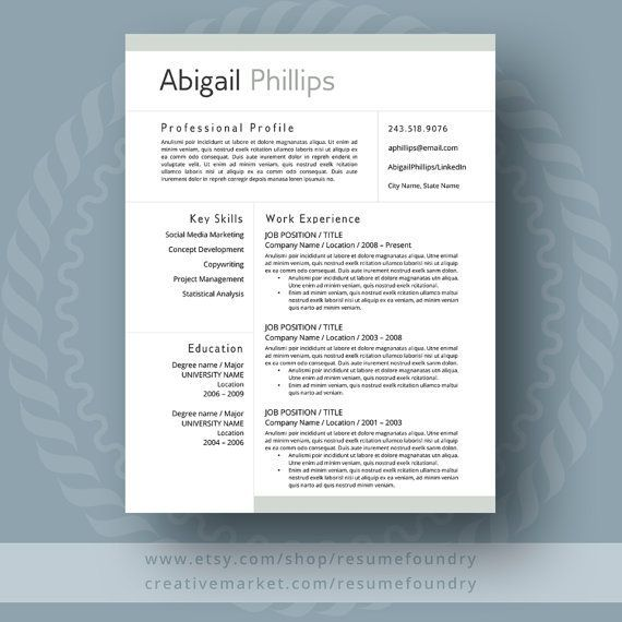 Professional Resume Template for Word, 1-3 Page Resume + Cover