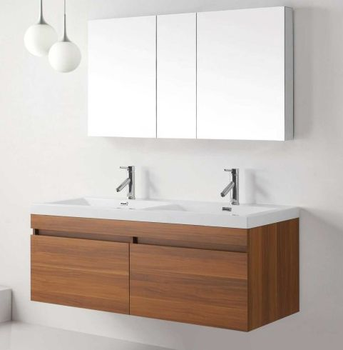 Abersoch 55 Inch Wall Mounted Double Sink Bathroom Vanity Modern Bathroom Vanity Floating Bathroom Vanities Small Bathroom Vanities