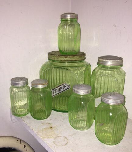 Vintage VASELINE Green Depression Glass COOKIE Coffee SUGAR Jar HOOSIER  Uranium