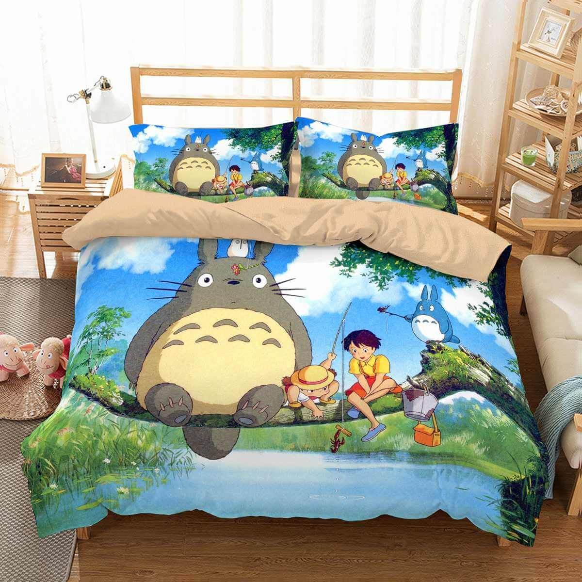 3d Customize My Neighbor Totoro Bedding Set Duvet Cover Set Bedroom Set Bedlinen Custom Bed Bright Bedding Sets My Neighbor Totoro