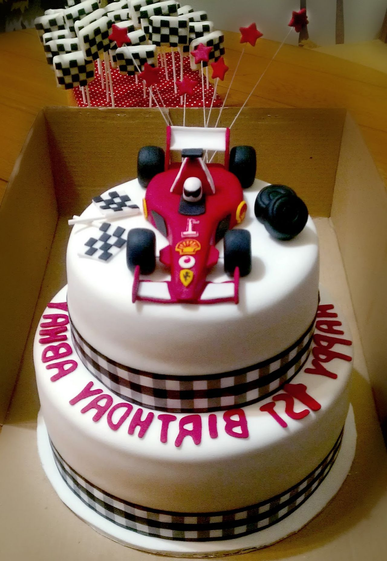 F1 Ferrari Racing Car 1st Birthday Cake With Checkered Flag Cake