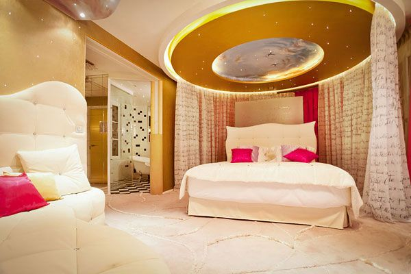 Simple Hotel Curtain Design Ceiling Stars White Master Bedroom Interior