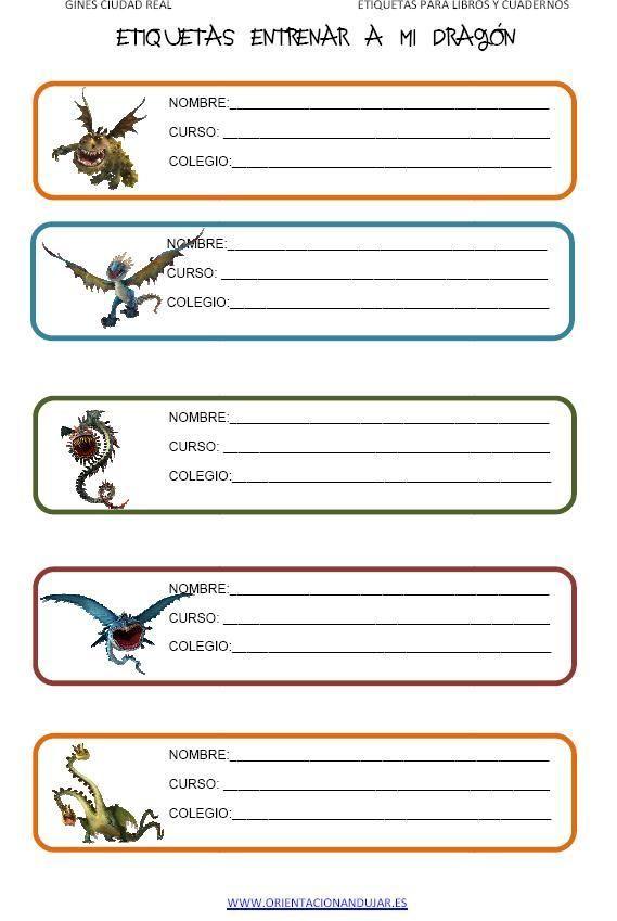 Entrenar A Tu Dragón Etiquetas Para Libros Y Cuadernos Etiquetas Escolares Para Imprimir Etiquetas Para Cuadernos Etiquetas De Colegio