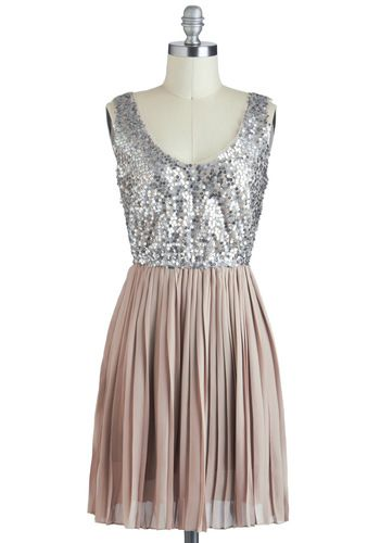 Glittery sequins and pleated taupe skirt, ModCloth dress