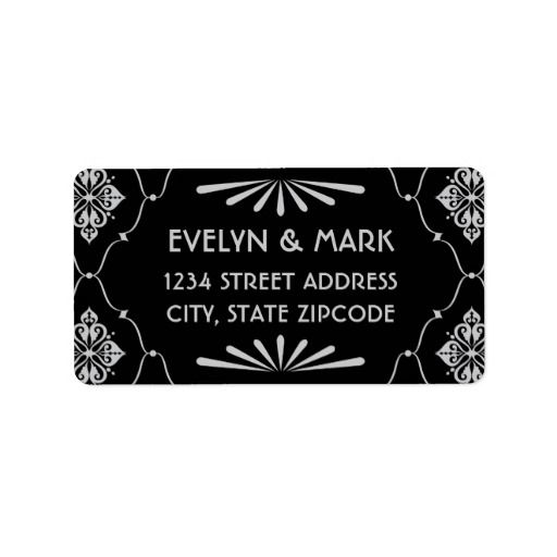 Return Address Labels Art Deco Style Return address, Art deco