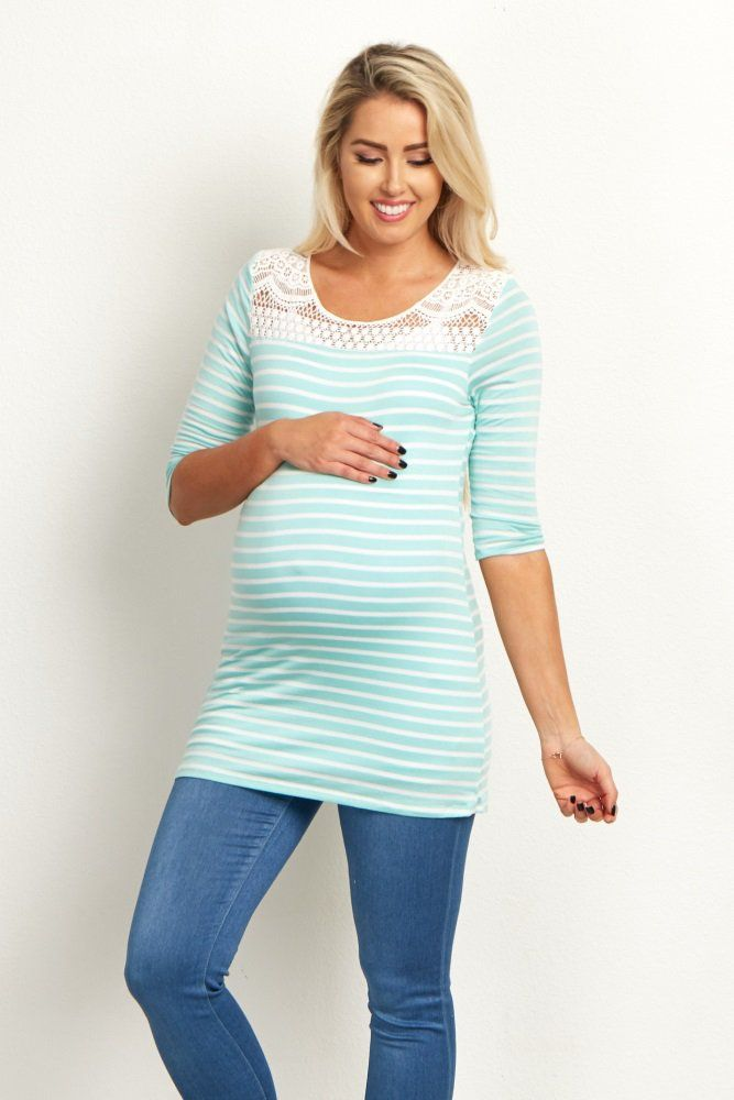 46265a1e375814 This everlasting trend is perfect for any season and with ¾ sleeves like  this, this striped maternity top offers you an effortless ...