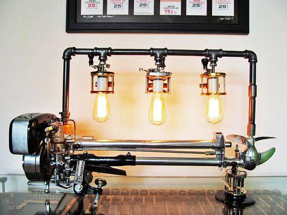 Vintage Antique Old Evinrude Elto Outboard Boat Motor Lamp Light Art Sculpture Piece Industrial Home Decor Arch Primitive Lighting Ambience Lighting Cool Lamps