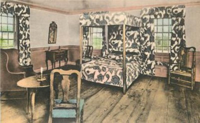 Vintage Postcard Of The Dey Mansion Interior In Wayne NJ Built Between 1740
