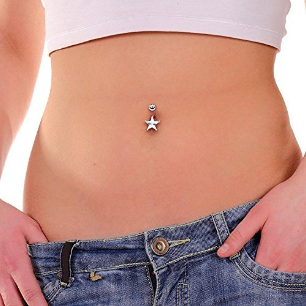 Cubic Zirconia Star Navel Ring ~ Belly Ring