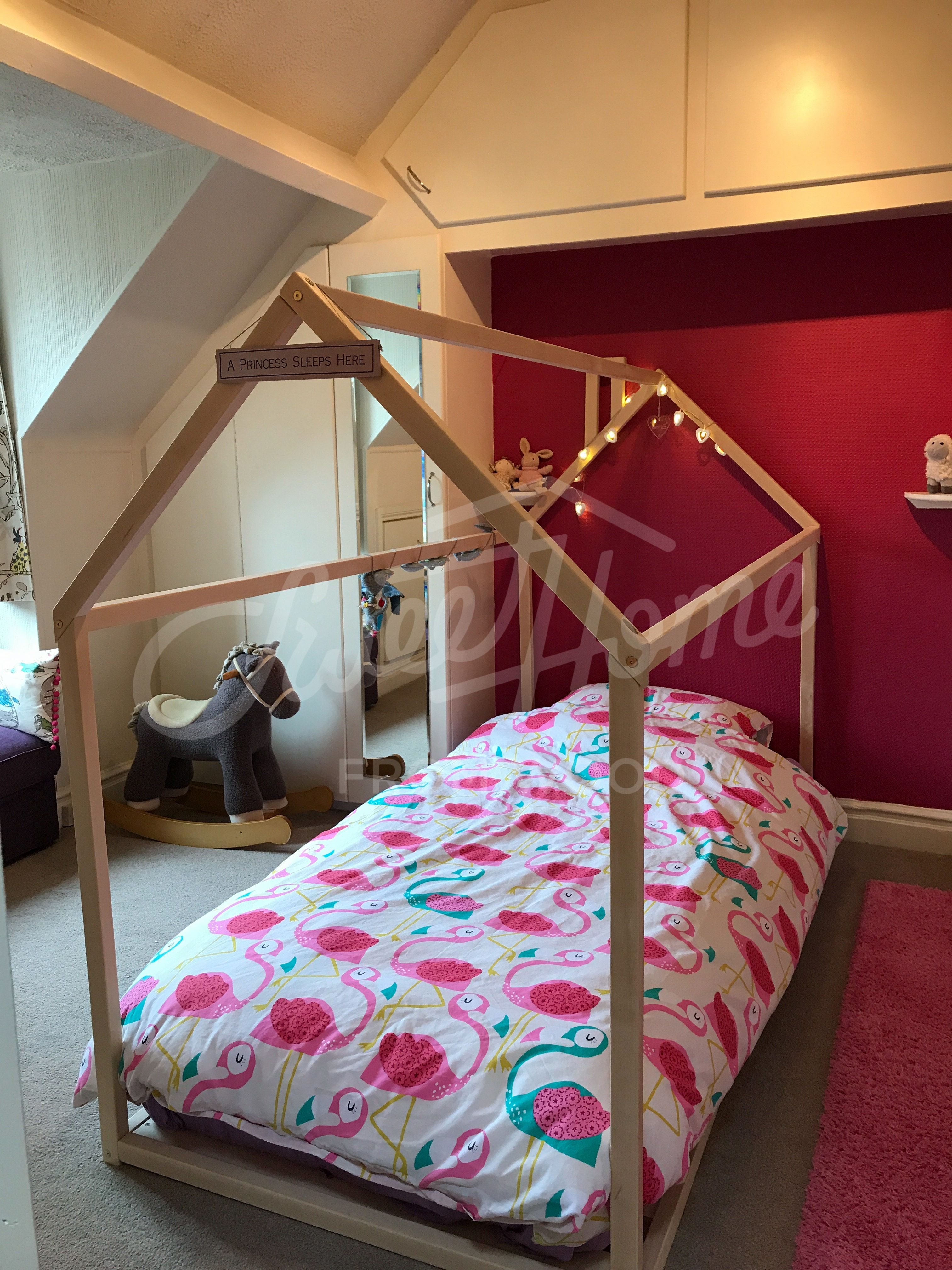 Cherry red and white flamingos themed kids playroom, toddler bed ...