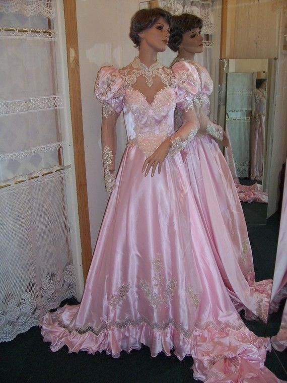 Vintage 80 S Style Wedding Gown With Lace Beads Sequins A Huge Flowing Skirt And Train Actual Sleeves Made Bright Shiny Pink Satin