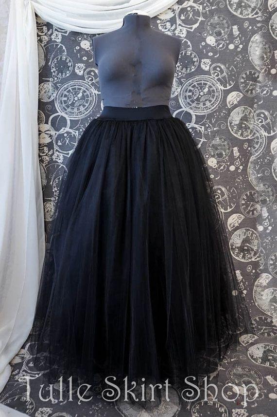 58a8e1a78f Black Plus Size Tulle Skirt with Stretch Waistband - Long Adult Tutu,  Crinoline or Petticoat
