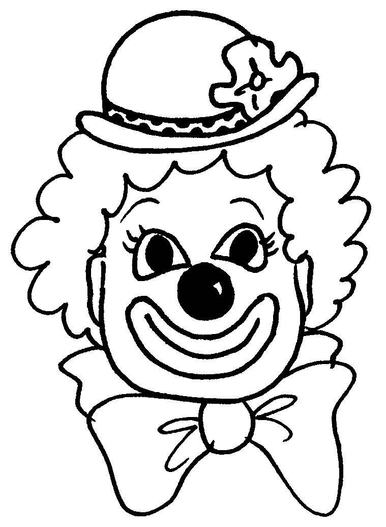 Черно-белая картинка клоуна