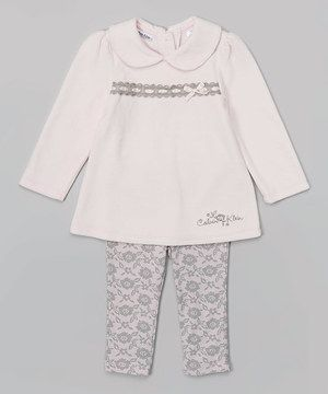 Love this Pink & Gray Lace Tunic & Leggings - Infant by Calvin Klein Underwear on #zulily! #zulilyfinds