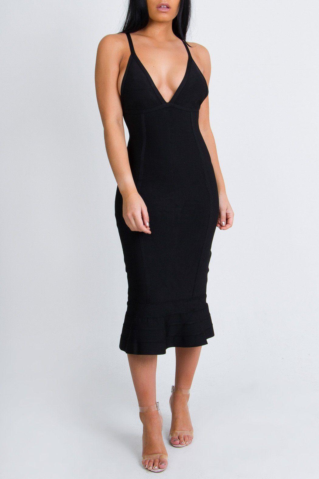 Elegant black midi ruffle dress products