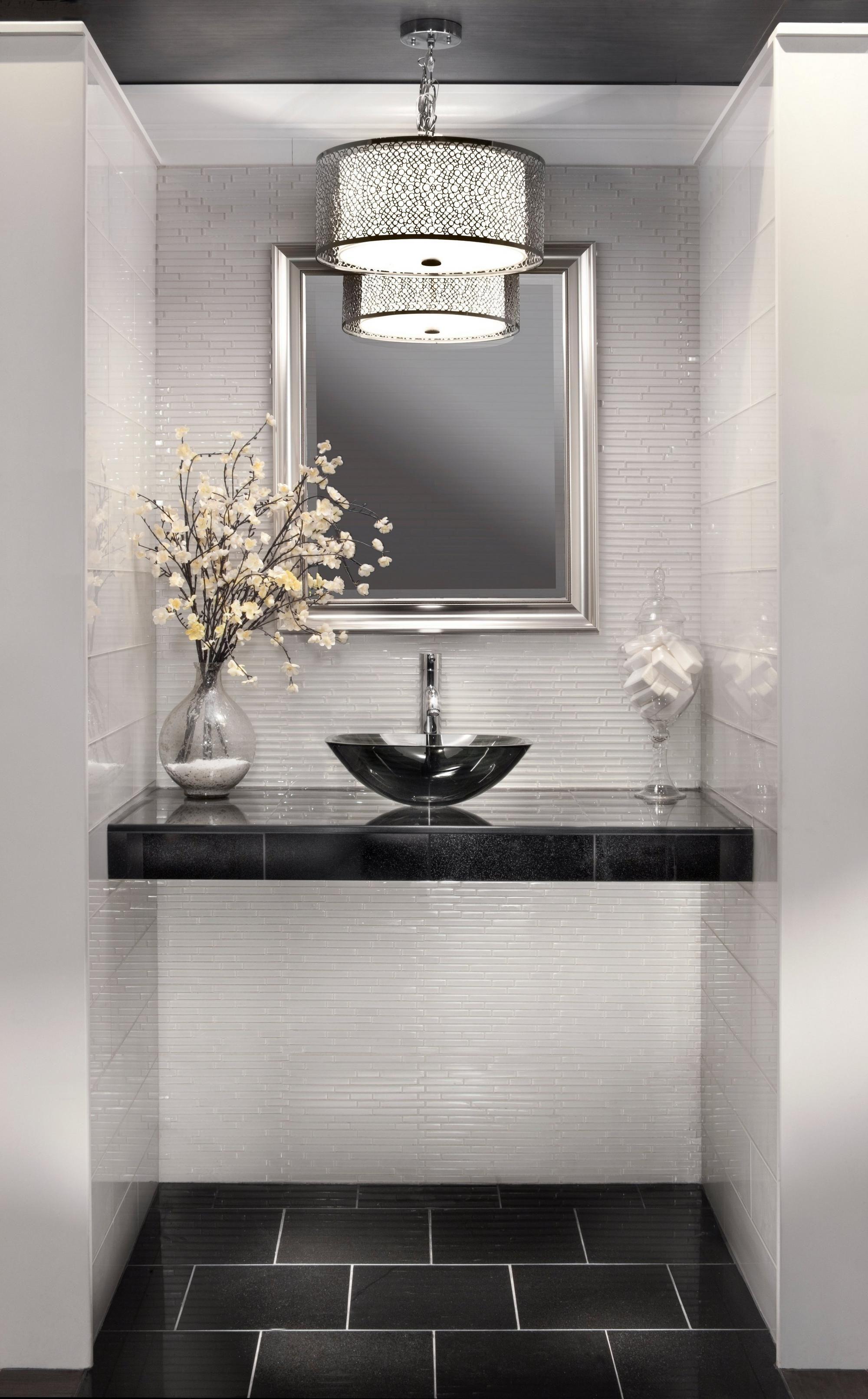 Snow Linear Glass Mosaic #modernpowderrooms