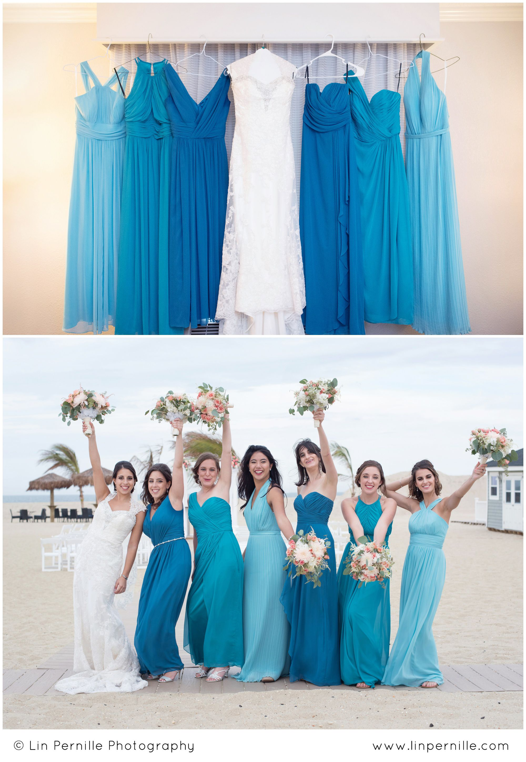c13a22e9323fe I LOVE mismatched bridesmaid dresses! These monochromatic shades of blue  are PERFECT for a beach wedding. • Mismatched Bridesmaid Dresses •  Mismatches ...